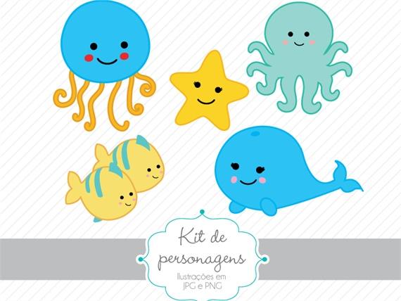 Kit De Personagens Fundo Do Mar Azul Personagens