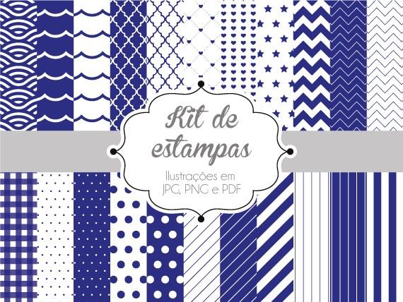 Kit De Estampas Azul Royal Papel Digital Estampa Estudio Tuty