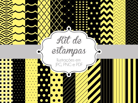 Armario Tela Aki ~ Kit de estampas Amarelo e Preto Papel Digital