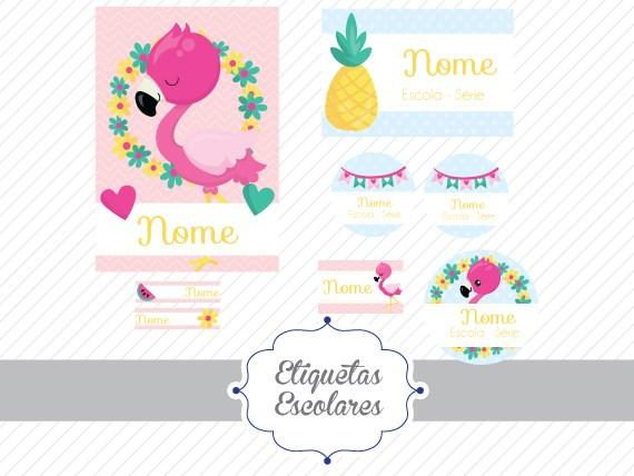 Etiquetas Escolares Flamingo Arquivo Digital Etiquetas