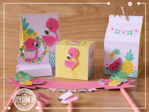 Kit Festa Flamingo Verao Estudio Tuty